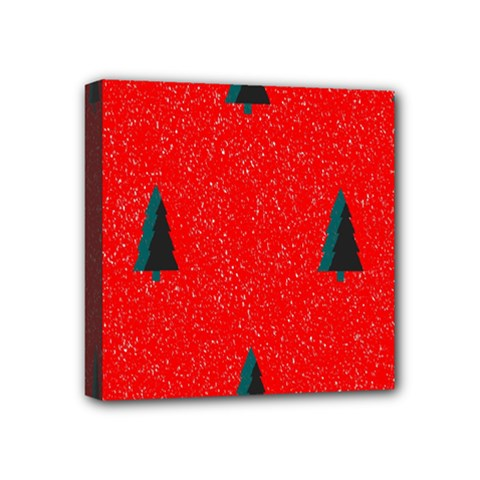 Christmas Time Fir Trees Mini Canvas 4  X 4  (stretched)