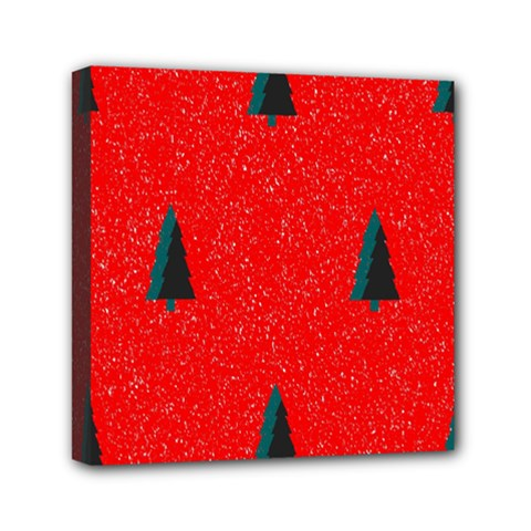 Christmas Time Fir Trees Mini Canvas 6  X 6  (stretched)