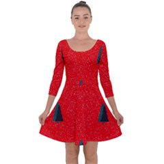 Christmas Time Fir Trees Quarter Sleeve Skater Dress