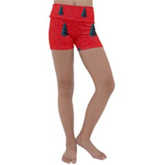 Christmas Time Fir Trees Kids  Lightweight Velour Yoga Shorts