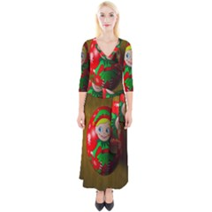 Christmas Wreath Ball Decoration Quarter Sleeve Wrap Maxi Dress by Wegoenart