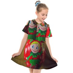 Christmas Wreath Ball Decoration Kids  Short Sleeve Shirt Dress
