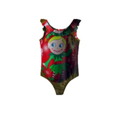 Christmas Wreath Ball Decoration Kids  Frill Swimsuit