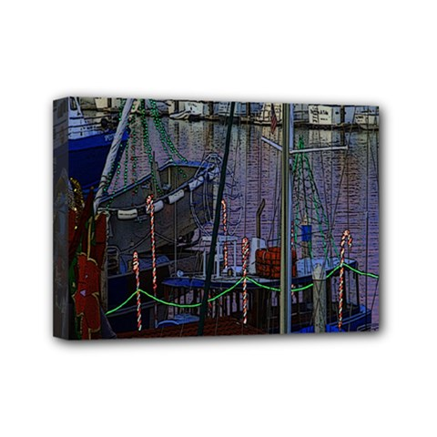 Christmas Boats In Harbor Mini Canvas 7  X 5  (stretched)