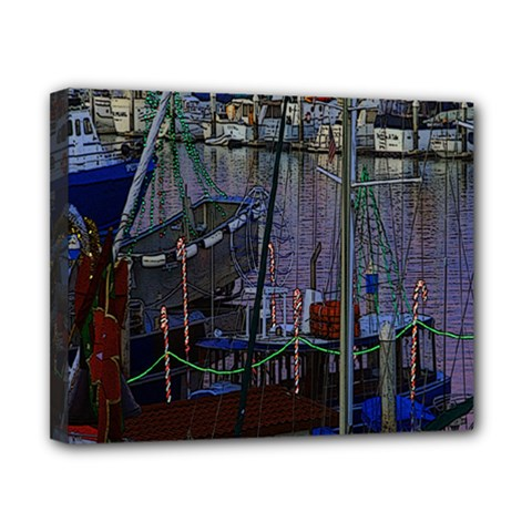 Christmas Boats In Harbor Canvas 10  X 8  (stretched)