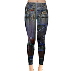 Christmas Boats In Harbor Leggings