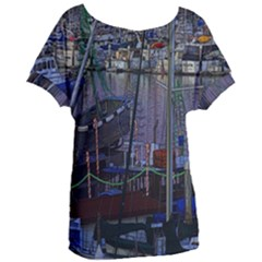Christmas Boats In Harbor Women s Oversized Tee by Wegoenart