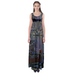 Christmas Boats In Harbor Empire Waist Maxi Dress