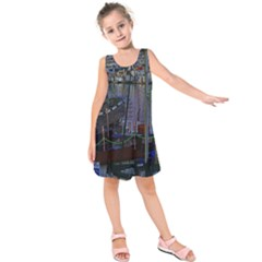 Christmas Boats In Harbor Kids  Sleeveless Dress