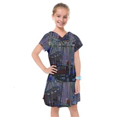 Christmas Boats In Harbor Kids  Drop Waist Dress