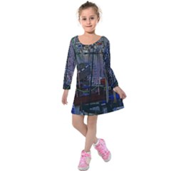 Christmas Boats In Harbor Kids  Long Sleeve Velvet Dress