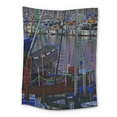Christmas Boats In Harbor Medium Tapestry