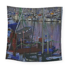 Christmas Boats In Harbor Square Tapestry (large)