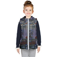 Christmas Boats In Harbor Kid s Hooded Puffer Vest