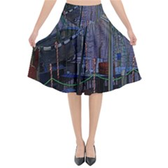 Christmas Boats In Harbor Flared Midi Skirt