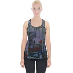 Christmas Boats In Harbor Piece Up Tank Top