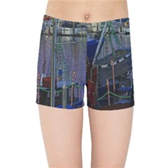 Christmas Boats In Harbor Kids Sports Shorts