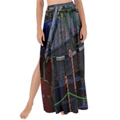 Christmas Boats In Harbor Maxi Chiffon Tie Up Sarong
