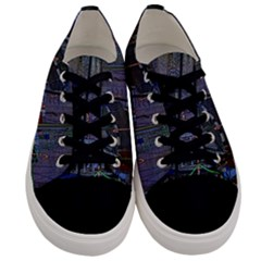 Christmas Boats In Harbor Men s Low Top Canvas Sneakers