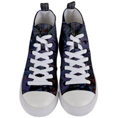 Christmas Boats In Harbor Women s Mid Top Canvas Sneakers