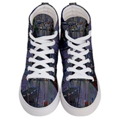 Christmas Boats In Harbor Women s Hi Top Skate Sneakers