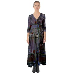 Christmas Boats In Harbor Button Up Boho Maxi Dress