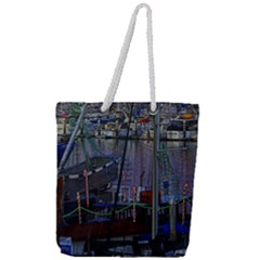 Christmas Boats In Harbor Full Print Rope Handle Tote (large)