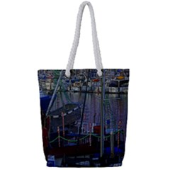 Christmas Boats In Harbor Full Print Rope Handle Tote (small)