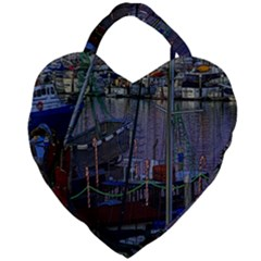 Christmas Boats In Harbor Giant Heart Shaped Tote