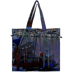 Christmas Boats In Harbor Canvas Travel Bag