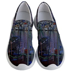 Christmas Boats In Harbor Women s Lightweight Slip Ons