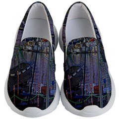 Christmas Boats In Harbor Kid s Lightweight Slip Ons
