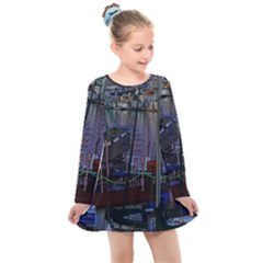 Christmas Boats In Harbor Kids  Long Sleeve Dress