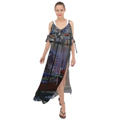 Christmas Boats In Harbor Maxi Chiffon Cover Up Dress