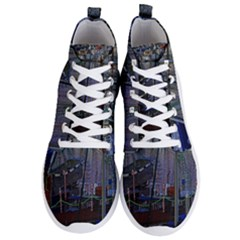 Christmas Boats In Harbor Men s Lightweight High Top Sneakers