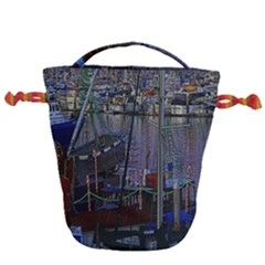 Christmas Boats In Harbor Drawstring Bucket Bag
