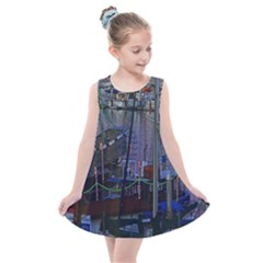 Christmas Boats In Harbor Kids  Summer Dress
