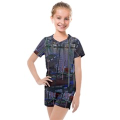 Christmas Boats In Harbor Kids  Mesh Tee And Shorts Set