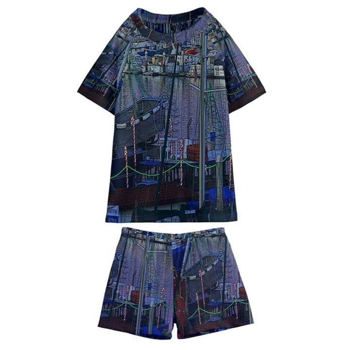 Christmas Boats In Harbor Kids  Swim Tee and Shorts Set