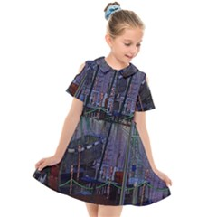 Christmas Boats In Harbor Kids  Short Sleeve Shirt Dress