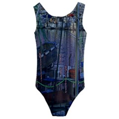 Christmas Boats In Harbor Kids  Cut Out Back One Piece Swimsuit