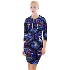 Church Window Canterbury Quarter Sleeve Hood Bodycon Dress
