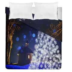Christmas Card Christmas Atmosphere Duvet Cover Double Side (queen Size)