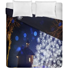 Christmas Card Christmas Atmosphere Duvet Cover Double Side (california King Size)