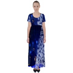 Christmas Card Christmas Atmosphere High Waist Short Sleeve Maxi Dress