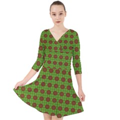 Christmas Paper Wrapping Patterns Quarter Sleeve Front Wrap Dress