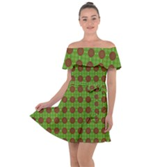Christmas Paper Wrapping Patterns Off Shoulder Velour Dress by Wegoenart