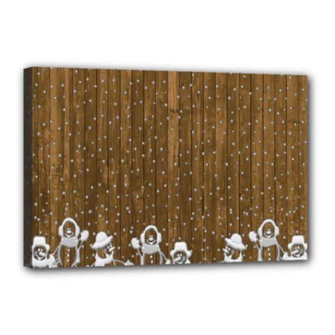 Christmas Snowmen Rustic Snow Canvas 18  X 12  (stretched)