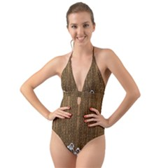 Christmas Snowmen Rustic Snow Halter Cut Out One Piece Swimsuit