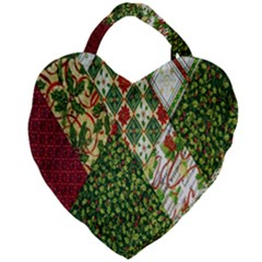 Christmas Quilt Background Giant Heart Shaped Tote by Wegoenart